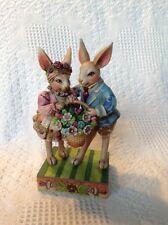"Mr. & Mrs. Rabbit Holding Flower Basket - ""Happy Together"" - Jim Shore - Nib"
