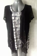 Black Top with Coloured inserts, Draped Front Mesh Cap Sleeves Plus Size 18 NWOT