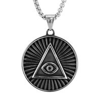 Vintage Stainless Steel Round Pendant with Pyramid Triangle Eye Necklace