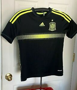 Spain 2014 World Cup Soccer Football Black Away Road adidas Jersey Boys M Used