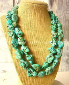 Chunky Natural Green Turquoise Gemstone Nugget Jewelry Beaded Long Necklace 35''