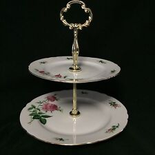 "Christineholm Porcelain ""ROSE"" 2 Tiered Candy Tray Stand 9-3/4"" X 9"" - Excellent"
