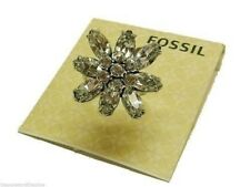 Fossil Crystal Flower Statement Ring Silvertone Size 8 New! NWT