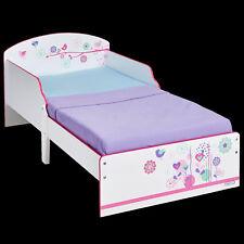 Kinderbett Blumen 140x70cm Jugendbett Juniorbett Mädchen Bett Holz weiß rosa