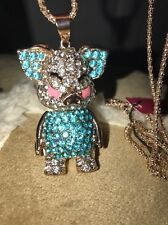 Betsey Johnson Necklace Pig Crystals Blue Gold Sparkles Baby Pig