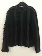 Frederic Homs Ownwear Zip Front Jacket Sweater Black & Taupe Fringed Fits Size L