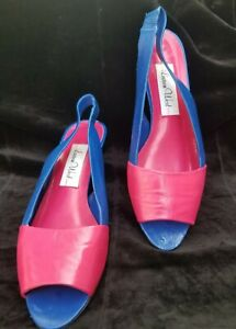 Lauren West Pink And Blue Wedge Shoes