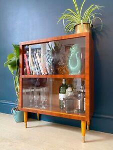 Mid century retro vintage small bookcase display glass cabinet.