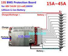 Protection BMS PCB Fit 48V/54.6V 13S 18650 Li-Ion Li-Polymer Battery Pack 15-45A