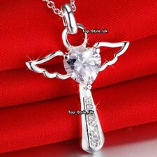 Angel Wings Diamond Heart 925 Silver Necklace Christmas Gifts for Her Women Z3