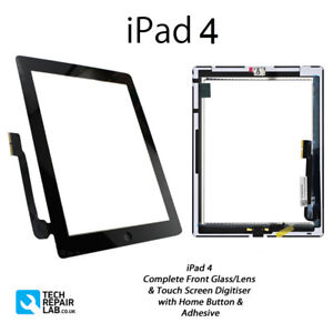 NEW iPad 4 Complete Front Glass Panel Digitiser Touch Screen w/Adhesive - BLACK