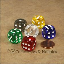 NEW 6 Transparent ROUNDED EDGE Dice Set 6 Colors 16mm Chessex RPG Bunco Game D6