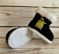 Baby Goth Hand Knit Oogie Boogie Booties Boots Nightmare Before Christmas 0-12M