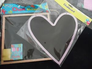 NEW UNUSED 2 X CHALK BOARDS HEART WOOD SURROUND SQUARE CHALK AND CLEANER SPONGE