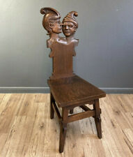 RARE ANTIQUE OAK CHARACTER CARVED HALL CHAIR ARTS AND CRAFTS