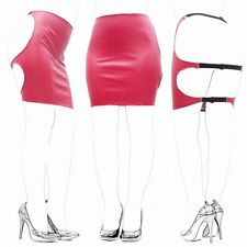 Wetlook Red PVC Style Faux Leather Backless Red Strap Spank Skirt