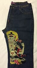 MEN'S CHRISTIAN AUDIGIER DENIM JEANS LIMITED EDITION HINDU GODDESS 42 x 33