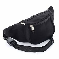 Black Canvas Fabric Bum Bag Fanny Pack Festival Holiday Money Pouch Accessories