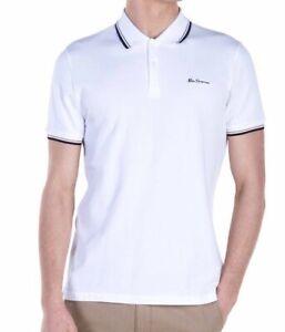 Ben Sherman Mens White Polo Shirt, Size L Cotton, Short Sleeve, Free Postage