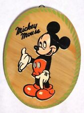 A0661 Vintage: Disney MICKEY MOUSE Painted Wood Art Hanging (c. 1960's)