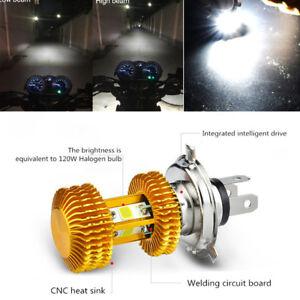 Golden 18W Motorcycle H4 LED Bulb High/Low Headlight 4-Side COB Chip Fog Lamp 1x