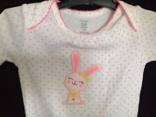 CARTER'S 12M ONE PIECE 100% COTTON WHITE W/PINK POLKA DOT EASTER BUNNY NEW (16