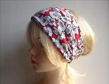 Haarband rot Blumen Blüten Hairband Yoga Turban bad hair day Headband breit