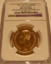 Brazil 1851 Gold 20000 Reis NGC UNC Details Pedro 2 Small Bust
