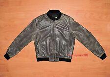 Rag & Bone Jean Women's Brown Distressed Char Leather Bomber Jacket sz XS