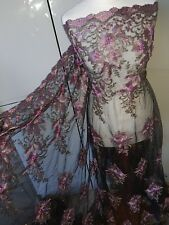 """1m BRIDAL boaded SCALLOPED black /lilac EMBRIOUDED PEARLS FABRIC 52"""""""