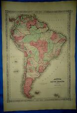 Vintage 1864 Atlas Map ~ SOUTH AMERICA ~ Old Antique & Authentic ~ Free S&H