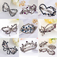 Fashion Women Hair Clip Leaf Crystal Hairpin Barrette Headband Hair Accessories