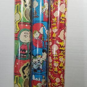 Wrapping Paper Roll Christmas 40 Sq Ft Peanuts Charlie Brown Snoopy