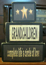 Grandchildren Complete Life Primitive Rustic Stacking Blocks Wooden Sign Set