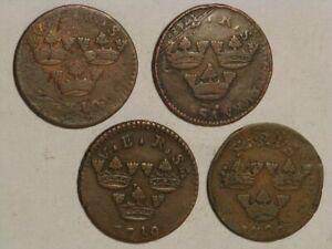 SWEDEN 1710/1718/1719/1720 1 Ore - 4 Coins