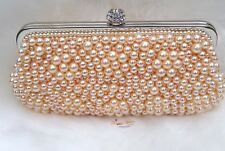 Peach Pearl Beads Small Evening Party Cocktail Purse handbag