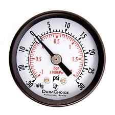 1 1 2 Dry Utility Pressure Gauge BLK Steel 1 8 NPT Center Back 30 HG 30 PSI