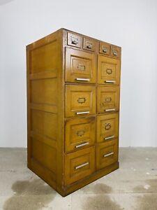 Vintage Oak Filing Cabinet | Mid-Century | Haberdashery, Office Storage Unit