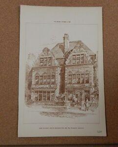 Antique Architects Print New Studios South Kensington The Builder 1886