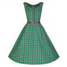 LINDY BOP NEW VINTAGE 50'S STYLE ANNA GREEN CHECK ROCKABILLY DRESS SIZE 10