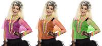 NEW Fishnet Neon Mesh Top Green Orange Pink - Ladies 1980s Fancy Dress Costume
