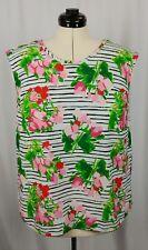 Merona Womens Sleeveless Top Blouse Striped Floral Polyester Size XXL