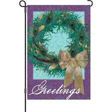 "Christmas Peacock Wreath Garden Flag Small 18"" x 12"""