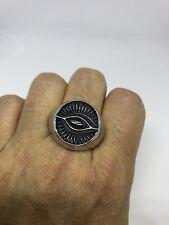 Vintage Large Stainless Steel Illuminati Eye Crest Size 12 Men's Ring