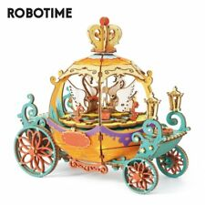 Rolife DIY Pumpkin Carriage Wooden Music box 3D Puzzle Toy Gift for Kids Girls