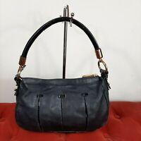 Badgley Mischka Black Leather Handbag Shoulder Hobo Purse Small Soho Satchel