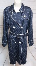 Womens Bandolino Long Trench Coat Sz S Belted Blue White Polka Dots Belted EUC