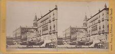 PHOTO STEREO A. PERINI VENEZIA RIVA DEGLI SCHIAVONI E HOTEL DANIELI CIRCA 1870
