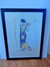 Original Hand Colored Drawing of Egyptian Female Signed by Artist