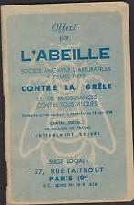 CARNET PUBLICITAIRE PETITS CARREAUX offert par l'ABEILLE ASSURANCES/GRELE